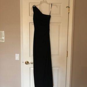 Ralph Lauren One-Shoulder Brooch Jersey Gown